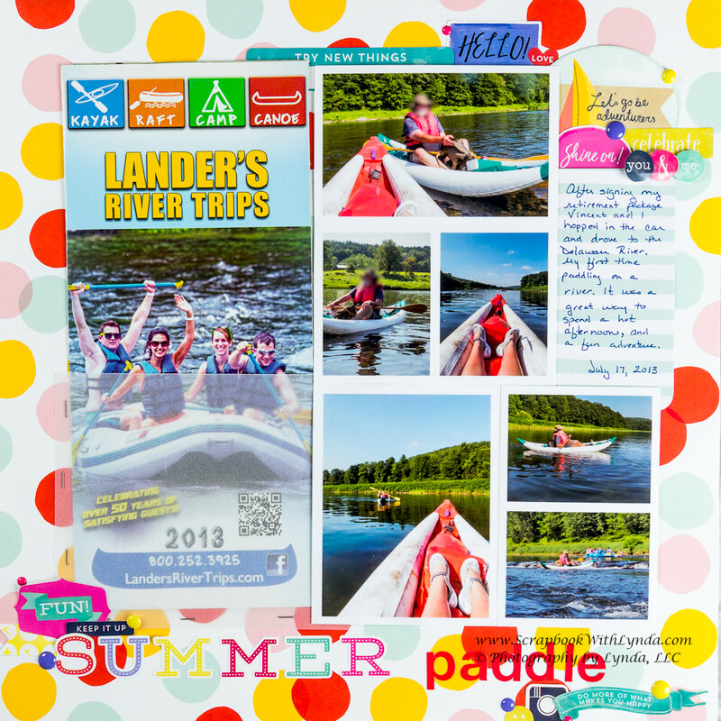 Summer Paddle Scrapbook Layout - How to add a brochure to a layout