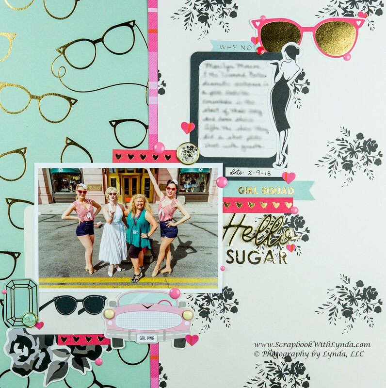 Marilyn Pink Cadillac Scrapbook Layout