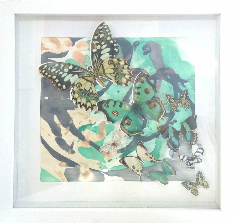 Nailpolish Marbeling with Butterflies