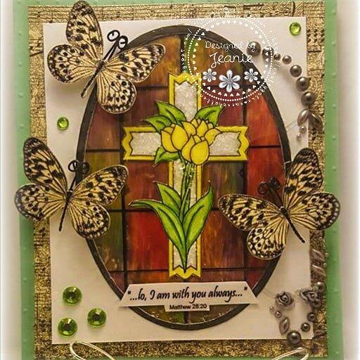 Cross in stain glass window