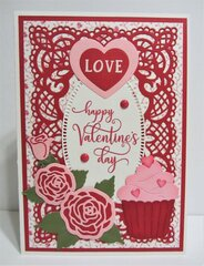 Cupcake and Roses Valentine Card