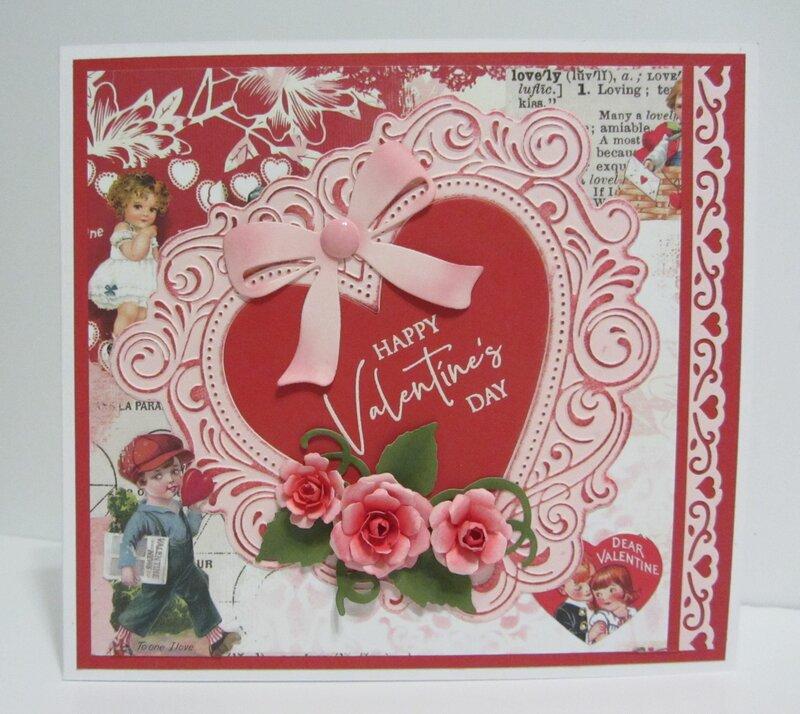 Vintage Pink Heart Valentine Card
