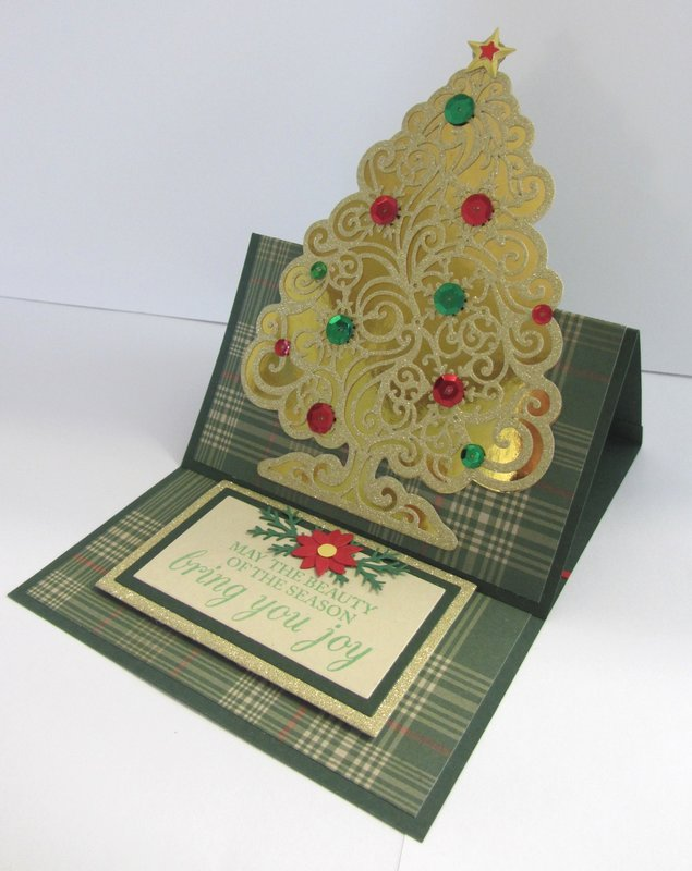 Gold Tree Easel Christmas Card