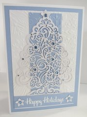 White Glitter Tree with Blue Paper