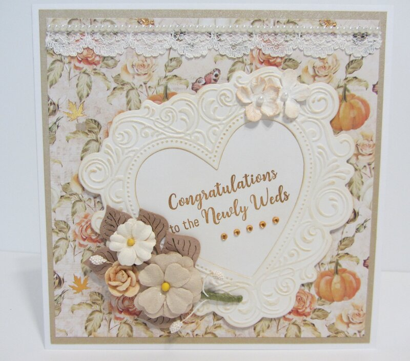Wedding Card with Pumpkin and Roses