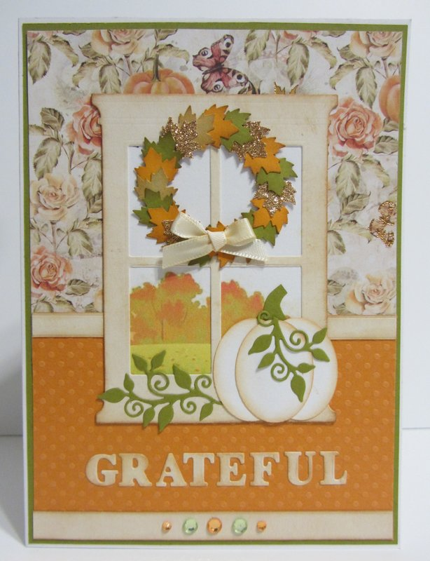 Fall Card with Window Wreath