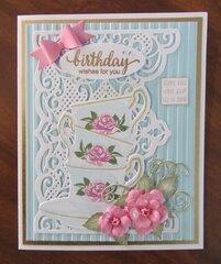 Rose Tea Cups Birthday Card