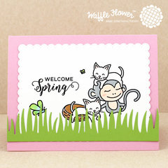 Welcome Spring Cats and Monkey Card