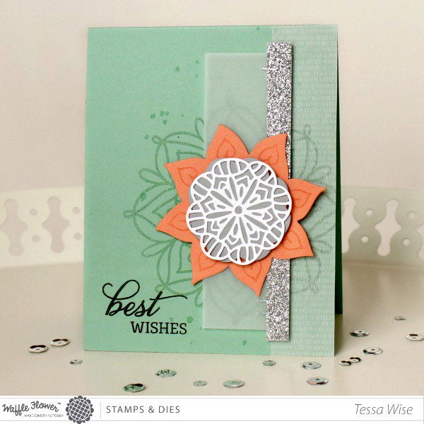 Best Wishes Lacy Flowers Card