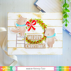 Merry Wreath with Vertical Stripes background