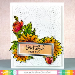 Sunflower Love Card with Circle Texture Background