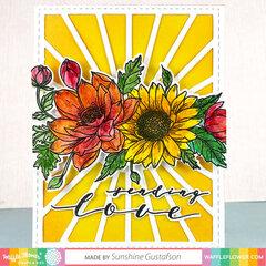 Sunflower Love Card with Sun Shine Panel background