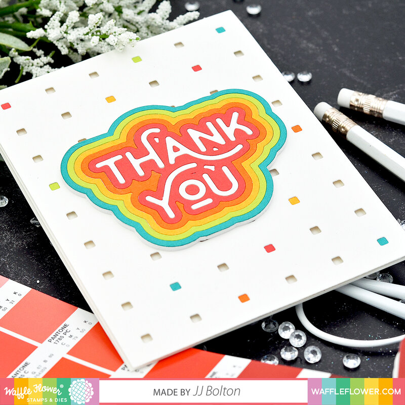 Rainbow Thank you card with Micro Grid 2 panel background