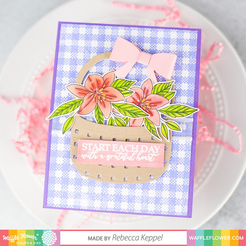 Spring Basket of Lilies card