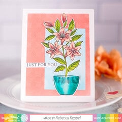Potted Lily with Embossed Plaid background card