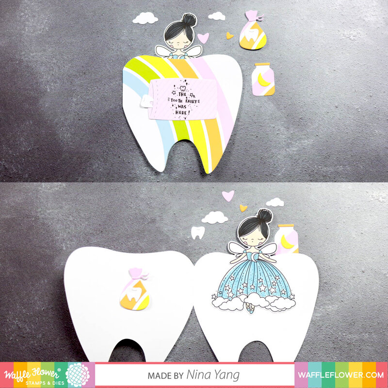 Tooth-Shaped rainbow card