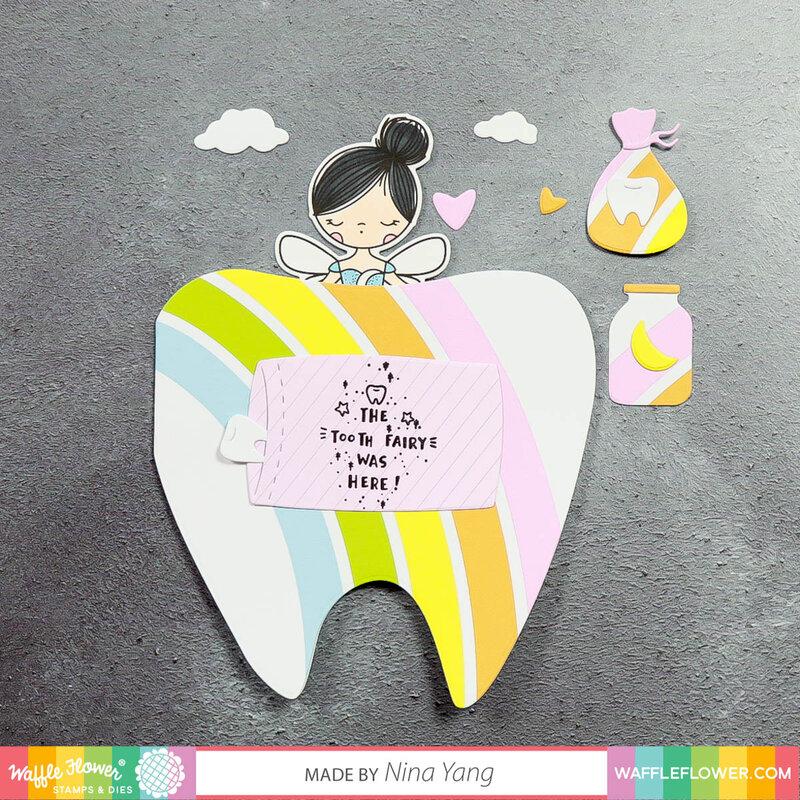 Tooth-Shaped rainbow card