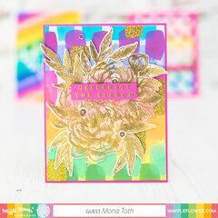 Glitzy Rainbow Floral Card