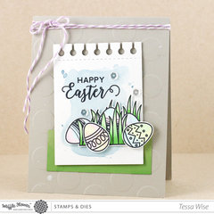 Happy Easter Eggs in Grass Card