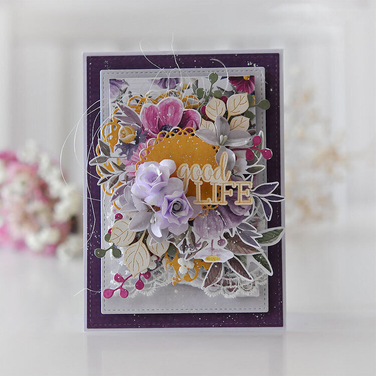 A card with flowers