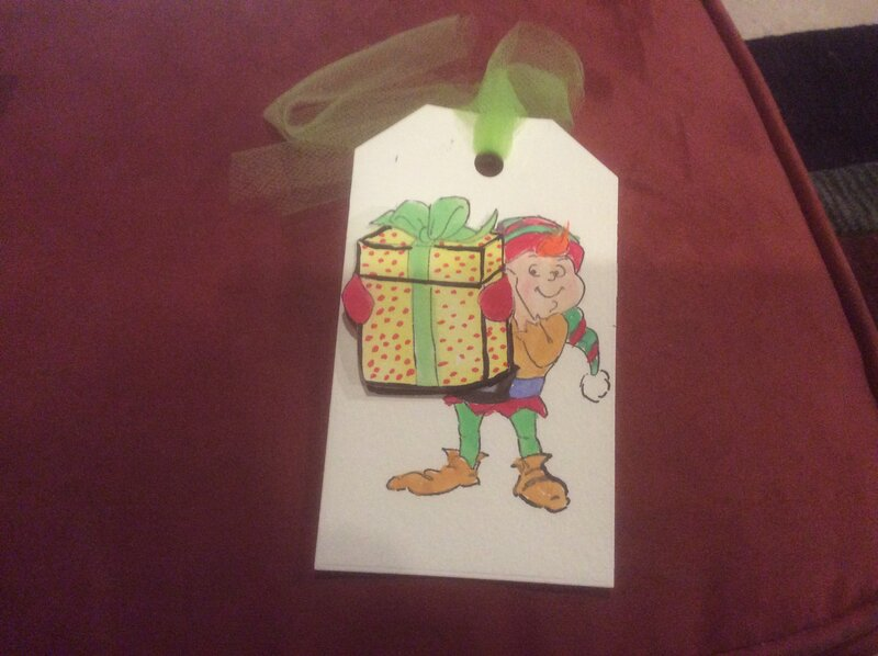Jester shaker card Christmas tag
