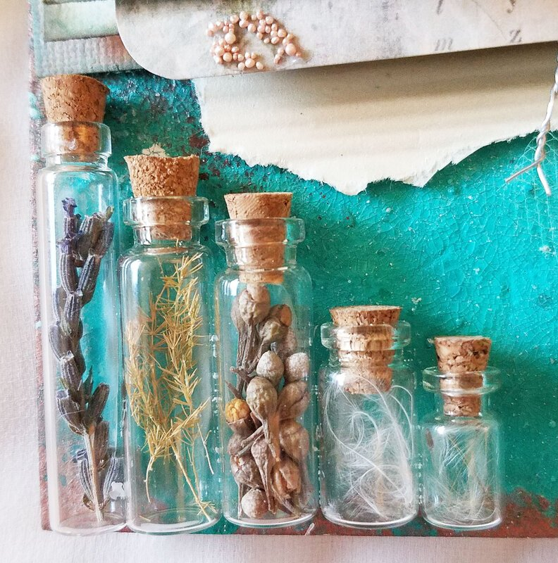 Summer Nature Sketchbook Tag - Front bottles