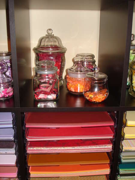 My Red and Orange Embellies and paper