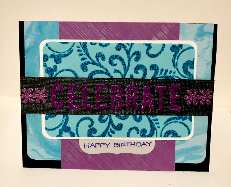 Purple and Turquoise Sparkle Birthday Card