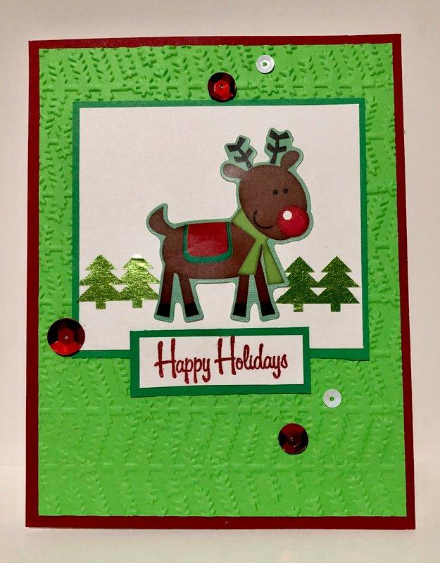 Bright Green Reindeer Card