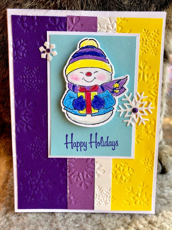 Purple and Yellow Snowman Card