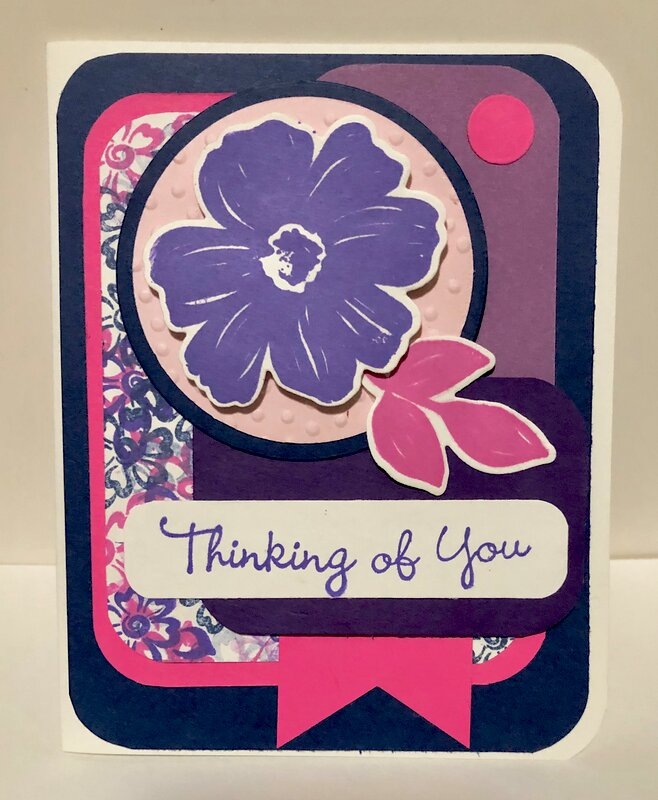 Purple, Pink and Blue Floral Card