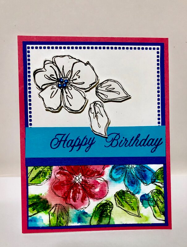 Happy Birthday Watercolor Stamping Card 2