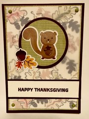 Squirrel and Leaves Thanksgiving Card