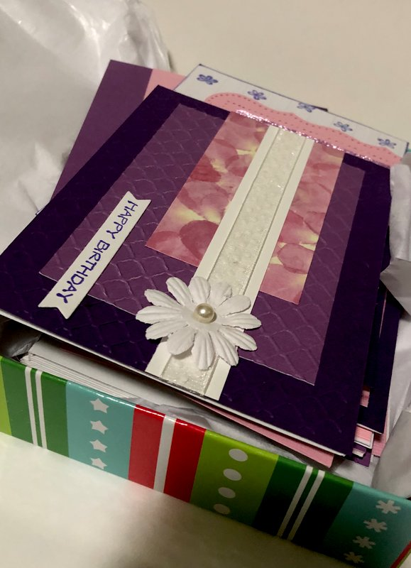 Pink and Purple OSW Happy Birthday Card Set
