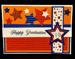 Orange and Blue Graduation Card 2019 Front