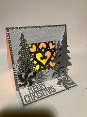 Silver and White Christmas Luminary Card Open