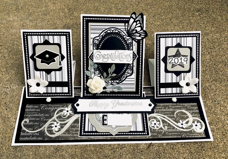Black, White and Silver Grey Triple Easel Fold Card