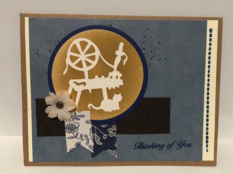 Stenciled Spinning Wheel and Cat Card