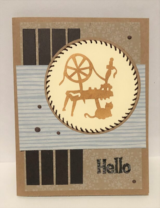 Spinning Wheel and Cat Stitched Card