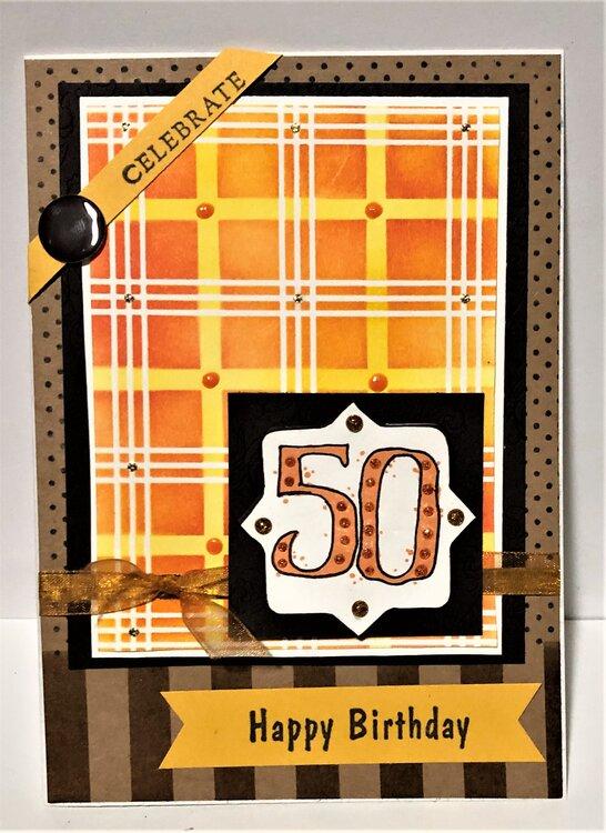 50th Birthday Orange Plaid