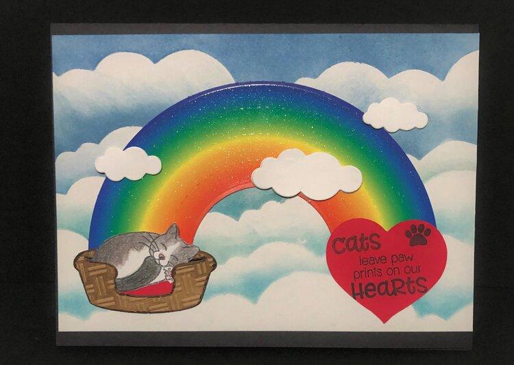 Rainbow Kitty Heart Card
