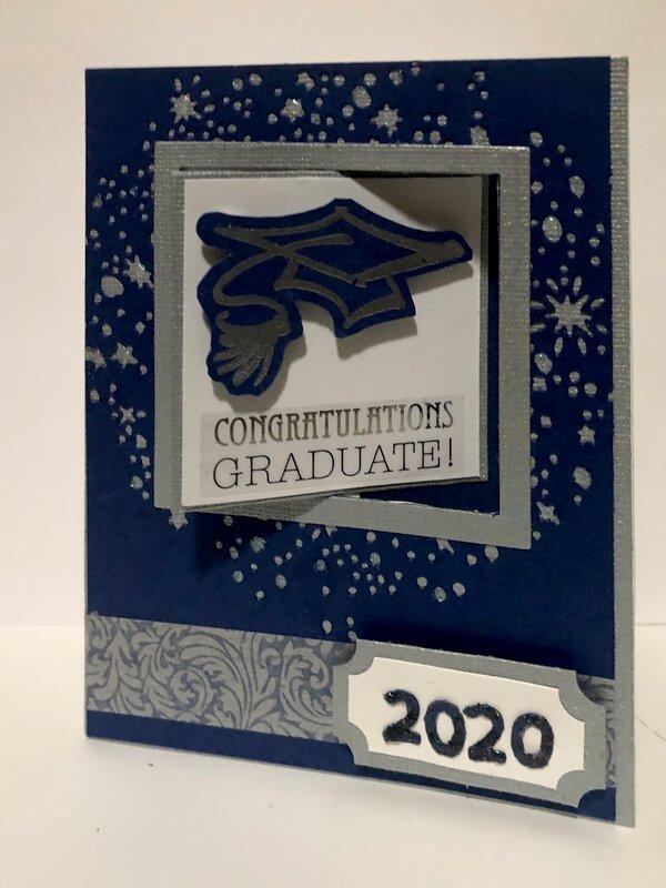 Blue 2020 Graduation Swing Fold Card Front