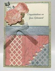 Peach Rose Retirement Drapery Fold Card