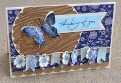 Blue Butterfly Banner Card