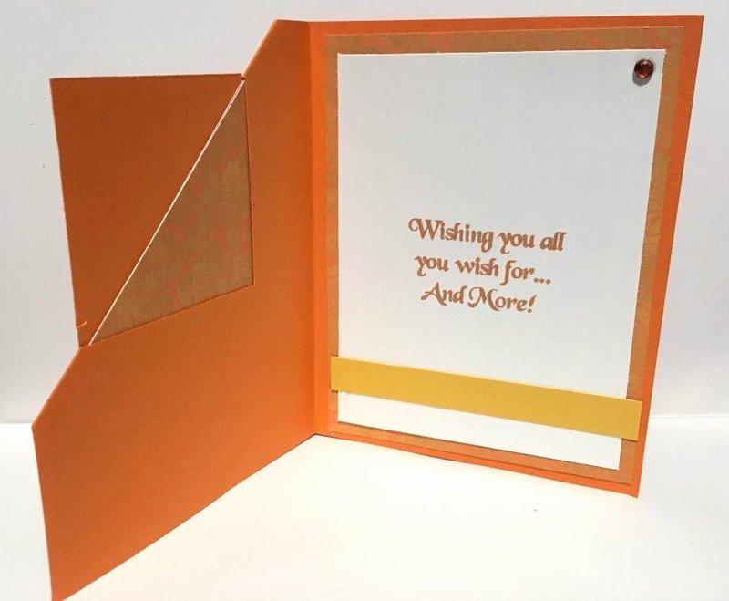 Orange Corner Flip Birthday Card  Inside View