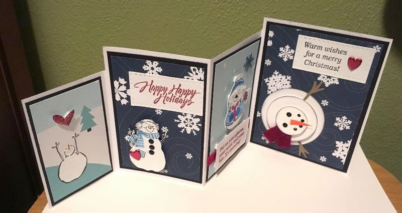 Snowman 4 Panel Card Displayed