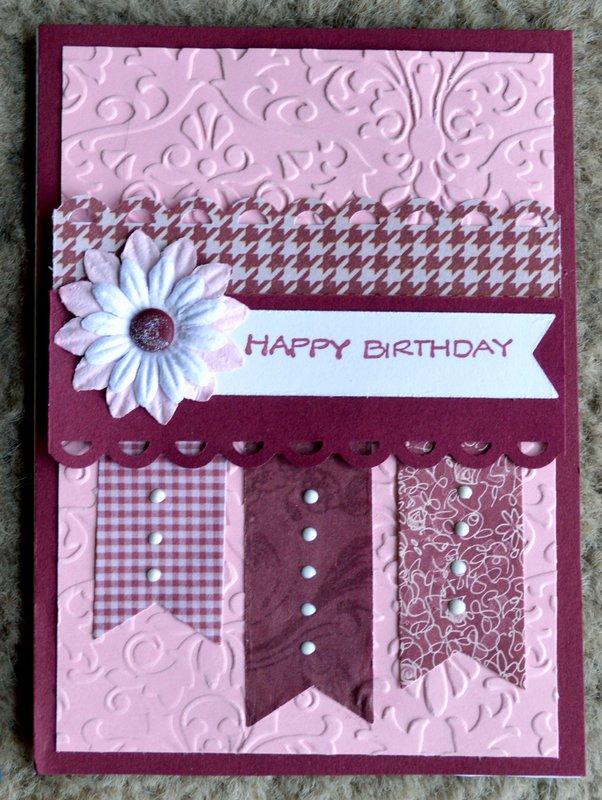 Burgundy and Pink Banner Birthday Card