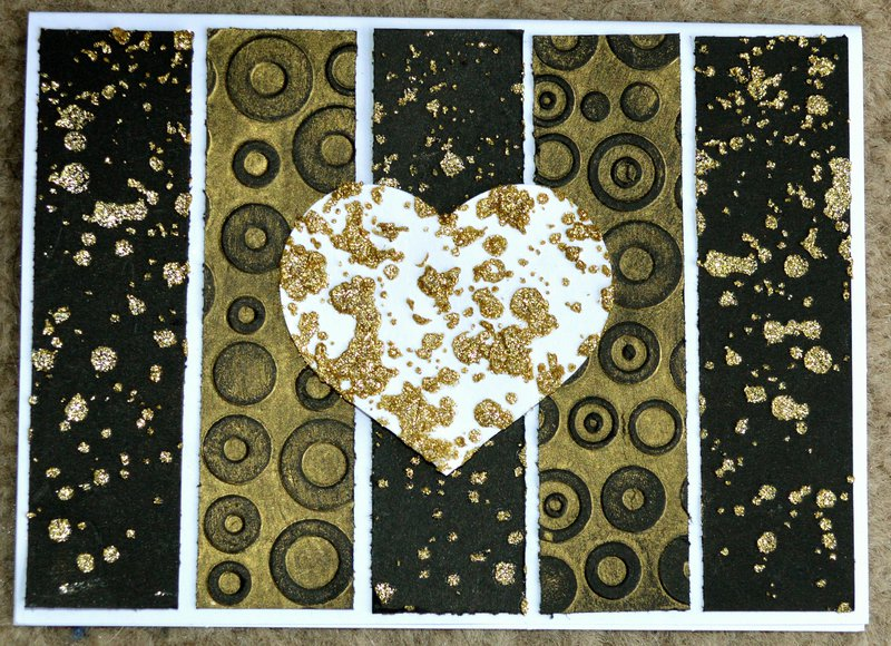 Gold and Black Heart Rectangle Card