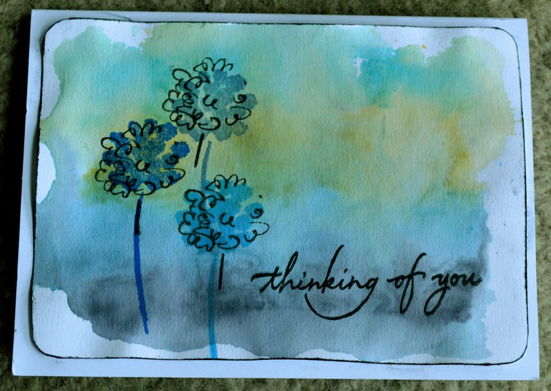 Watercolor Thinking of You Puffy Flower Card