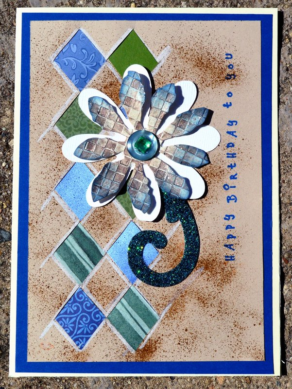 Blue, Green and Brown Woven Flower Card